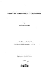 Phd thesis in plant tissue culture pdf