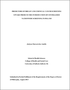 phd thesis on cervical cancer Qut thesis (2016) up a level barriers to and facilitators of cervical screening practice among african immigrant for virally-mediated head and neck cancer.