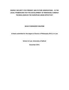Phd thesis on renewable energy